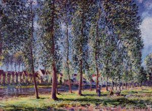 Alfred-Sisley-Lane-of-Poplars-at-Moret-Oil-Painting