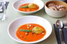 Caf+¬ des Epices - stuffed courgette flowers in red pepper cream