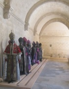 Very unsettling - models in opera costumes from Aida by Lacrois feel like medieval ghosts in the atmospheric cloister