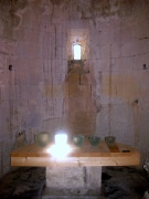 The 12th century crypt, cut out of the rock, and surrounded by tiny chapels, has modern altars with some lovely glass by Robert Wilson