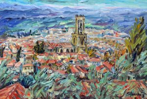 Jill's view of the Aix Cathedral.  The video clips show how she composes and builds her paintings