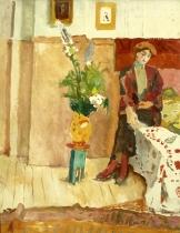 Femme assis sur un lit