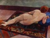Femme nue de dos sur un tapis