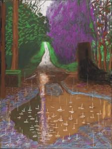 David Hockney, « L'Arrivée du printemps à Woldgate, Est du Yorkshire en 2011 (deux mille onze) – 18 décembre » Premier exemplaire sur un tirage de 10 Dessin sur iPad imprimé sur quatre feuilles de papier (118,1 x 88,9 cm chacune), montées sur quatre panneaux Dibond® 236,20 x 177,80 cm Avec l'aide de la collection de la Fondation David Hockney Photographe : Richard Schmidt