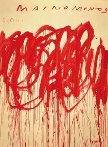 Cy Twombly Untitled (Bacchus 1st Version IV) 2004 Acrylique et crayon gras 265,4 x 200,7 x 5,08 cm avec cadre réalisé par l'artiste The Doris and Donald Fisher Collection at the San Francisco Museum of Modern Art © Cy