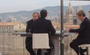 Gerard Depardieu and Benoit Magimel in a scene from Marseille, filmed at the Sofitel. Photo: Manon Gary