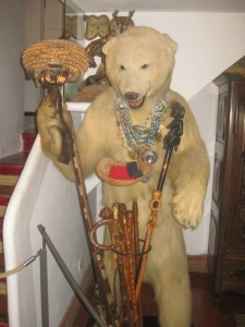 A polar bear greets visitors in the Dali house