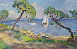 Charles-Camoin-Saint-Tropez-voilier-blanc-dans-la-baie-des-Canoubiers-1939; Collection particuliere Copyright: Jean-Louis Losi, ADAGP Paris 2016