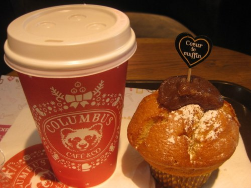 Hot chocolate and muffins with Coeur crème de marrons